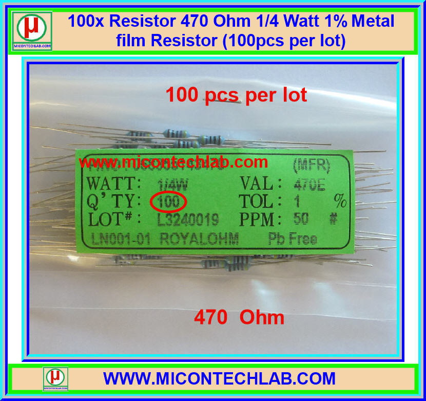 100x Resistor 470 Ohm 1/4 Watt 1% Metal film Resistor (100pcs per lot)