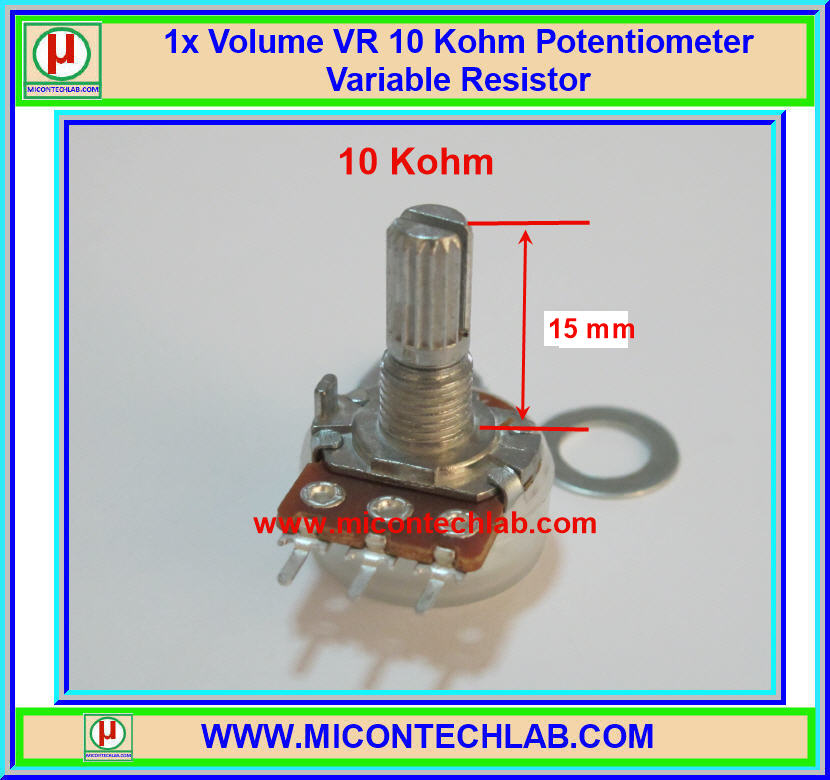 1x Volume VR 10 Kohm (15mm) Potentiometer Variable Resistor