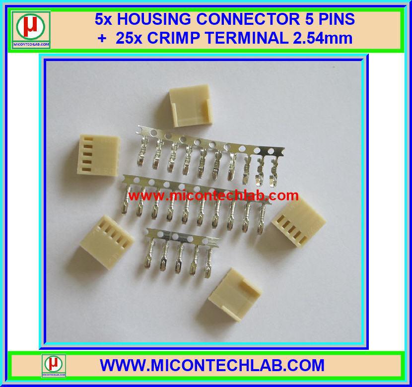 5x HOUSING CONNECTOR 5 PINS + 25x CRIMP TERMINAL 2.54mm