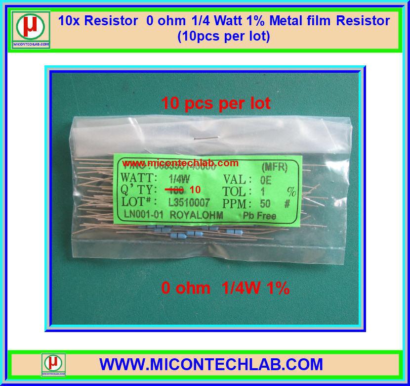 10x Resistor 0 ohm 1/4 Watt 1% Metal film Resistor (10pcs per lot)