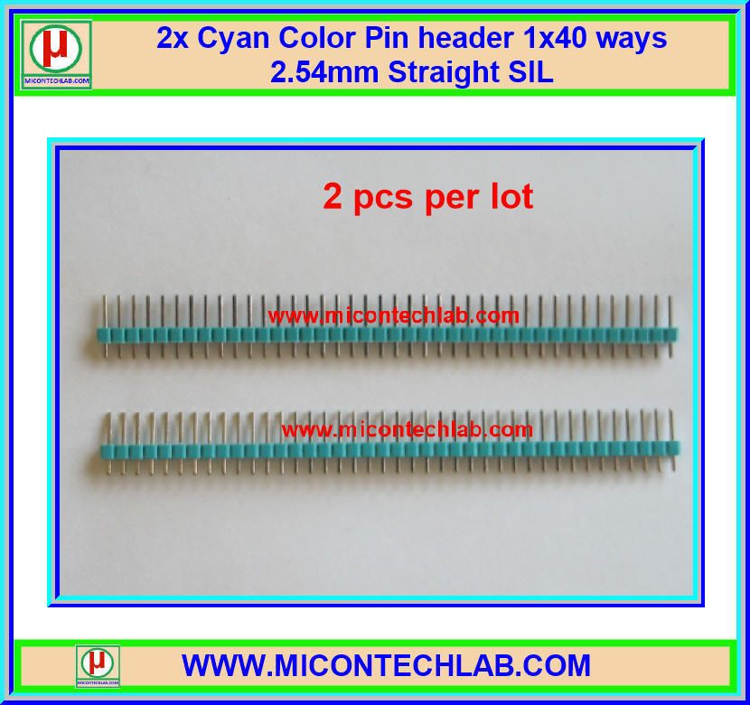 2x Cyan Color Pin header 1x40 ways 2.54mm Straight SIL