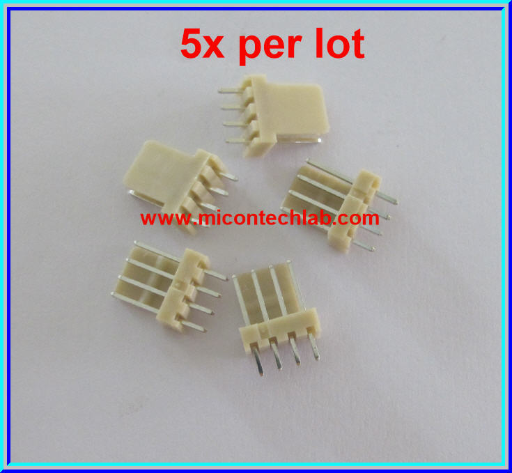 5x WAFER CONNECTOR 4 PINS STRAIGHT TYPE 2.54mm (5pcs per lot)