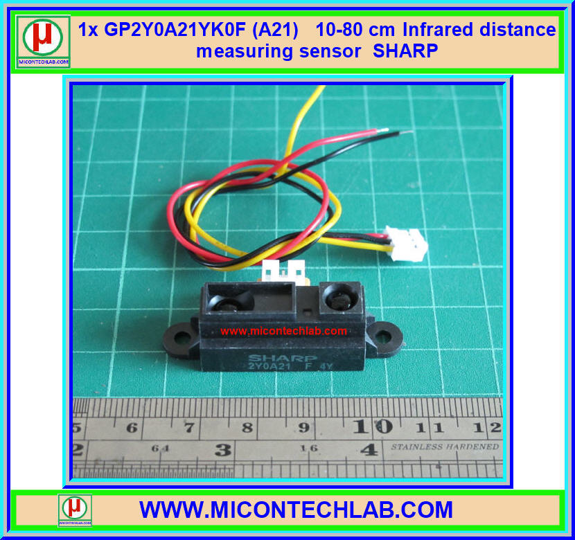 1x เซ็นเซอร์วัดระยะ GP2Y0A21YK0F (A21) SHARP ระยะ 10-80 ซม.