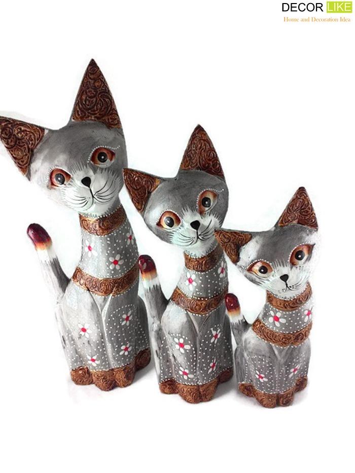 ตุ๊กตาไม้แกะสลักแมวบาหลี แบบ C
