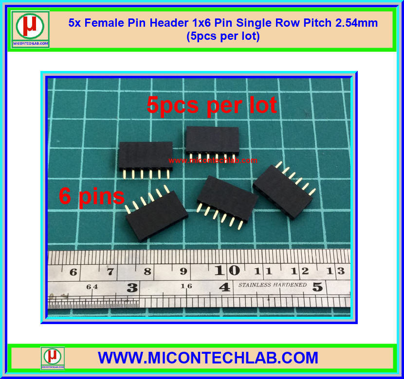 5x Female Pin Header 1x6 Pin Single Row Pitch 2.54mm (5pcs per lot)