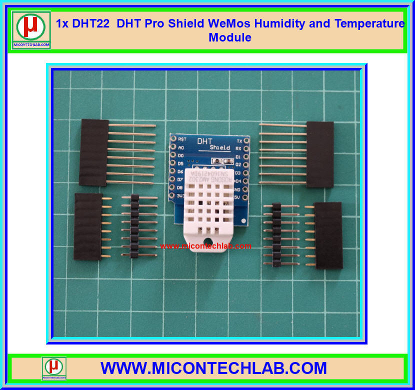 1x DHT22 DHT Pro Shield WeMos Humidity and Temperature Sensor Module