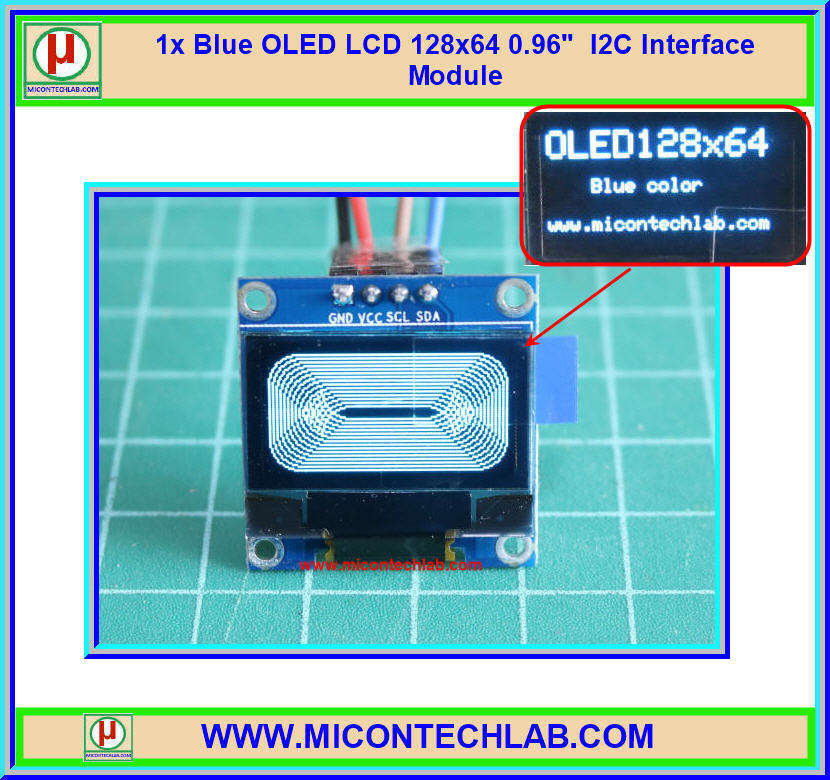 "1x Blue OLED LCD 128x64 0.96"" I2C Interface Module"