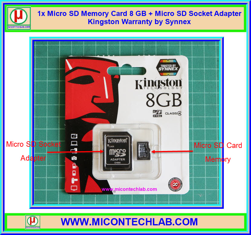 1x Micro SD Memory Card 8 GB + Micro SD Socket Adapter Kingston Warranty by Synnex