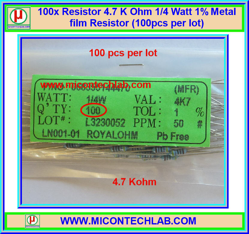 100x Resistor 4.7 Kohm 1/4 Watt 1% Metal film Resistor (100pcs per lot)