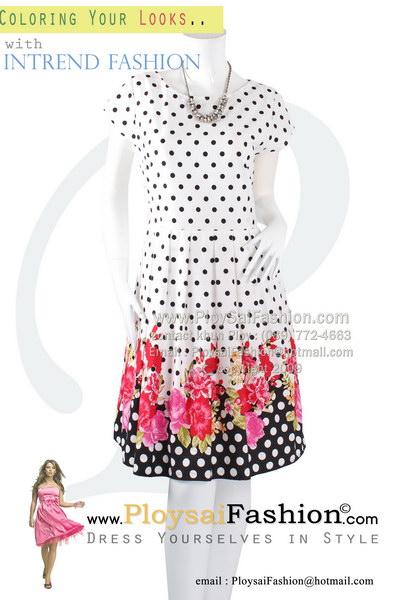 pd2587 - ชุดกระโปรงผ้า cotton สีขาวพิมพ์ลาย วงกลมดำ ช่วงชายพิมพ์ลายเชิงลายดอกสดใส จับจีบช่วงกระโปรง สวยน่ารักสุดๆเลยค่ะ