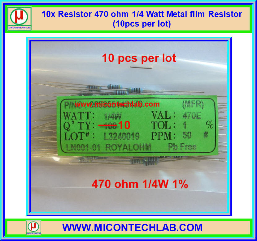 10x Resistor 470 ohm 1/4 Watt 1% Metal film Resistor (10pcs per lot)