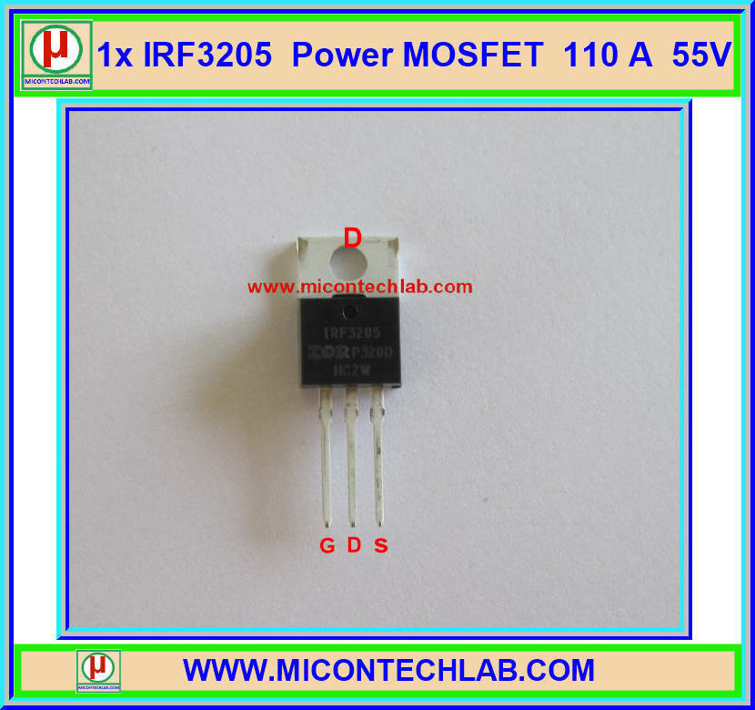 1x ไอซีเพาเวอร์มอสเฟต IRF3205 N-Channel 55V 110A 200W Power MOSFET