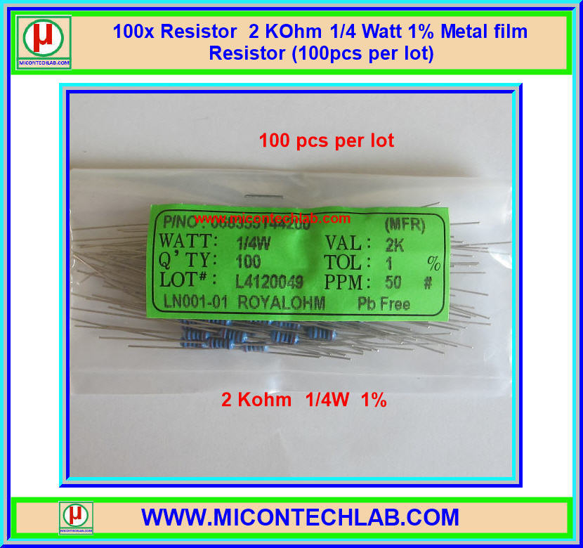 100x Resistor 2 KOhm 1/4 Watt 1% Metal film Resistor (100pcs per lot)