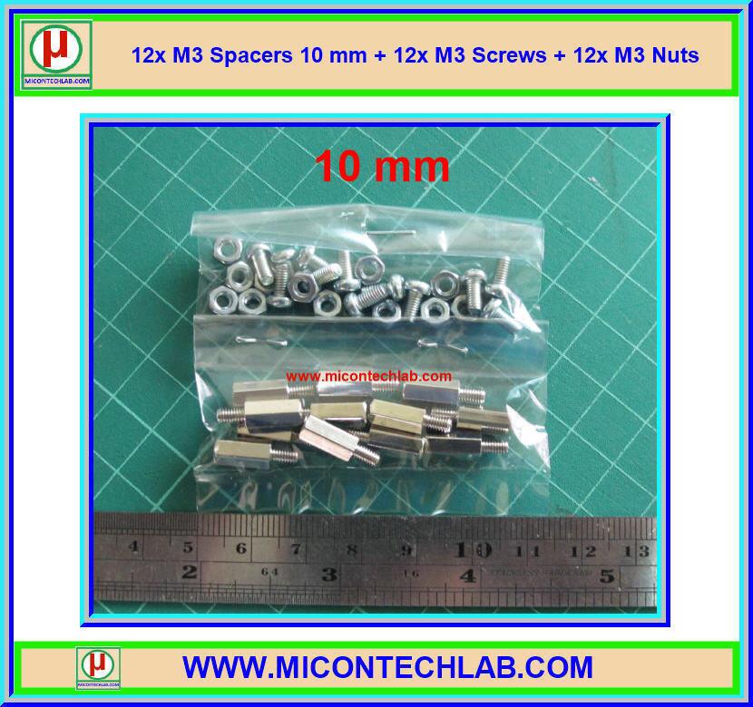 12x M3 Spacers 10 mm + 12x M3 Screws + 12x M3 Nuts (เสารองพีซีบีแบบปลายผู้เมีย 10 มม)