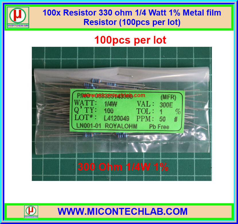 100x Resistor 300 Ohm 1/4 Watt 1% Metal film Resistor (100pcs per lot)