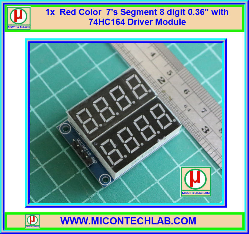 """1x Red Color 7's Segment 8 digit 0.36"""" with 74HC164 Driver Module"""