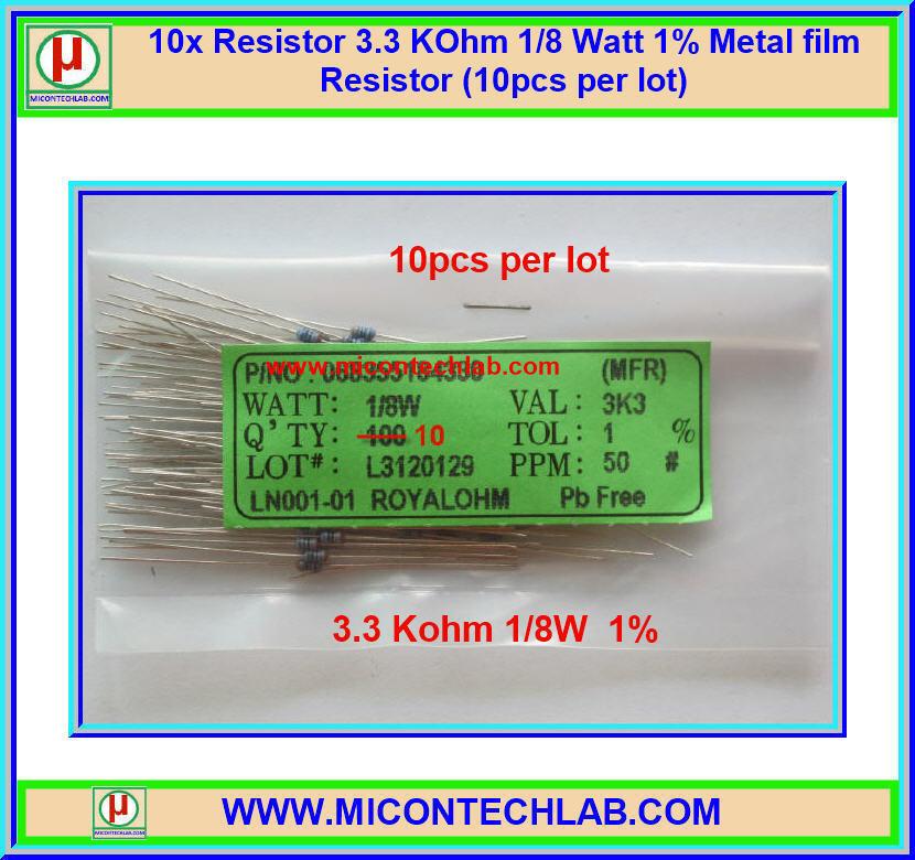 10x Resistor 3.3 Kohm 1/8 Watt 1% Metal film Resistor (10pcs per lot)