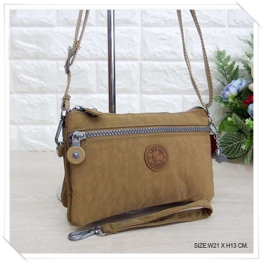 กระเป๋าสะพายข้างสายยาว สีกากี