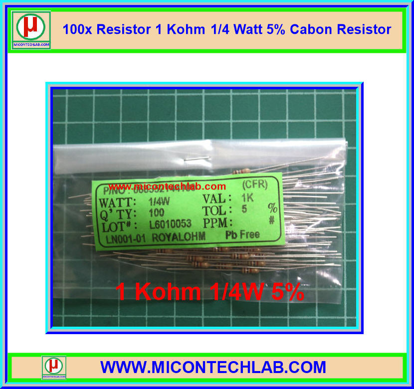 100x Resistor 1 Kohm 1/4 Watt 5% Cabon Resistor