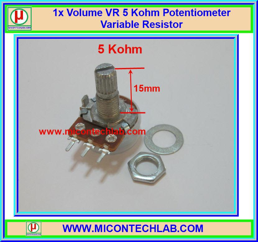 1x Volume VR 5 Kohm (15mm) Potentiometer Variable Resistor