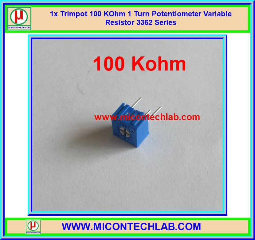 1x Trimpot 100 KOhm 1 Turn Potentiometer Variable Resistor 3362 Series