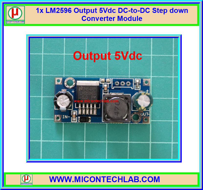 1x LM2596-5 Output 5Vdc DC-to-DC Step down Converter Module