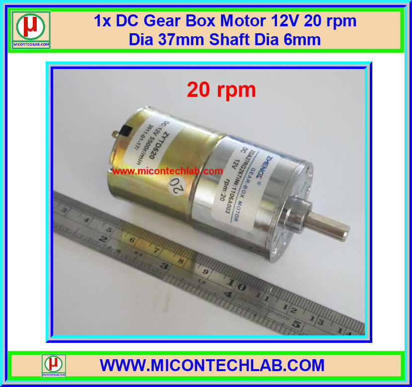 1x DC Gear Box Motor 12V 20 rpm Dia 37mm Shaft Dia 6mm