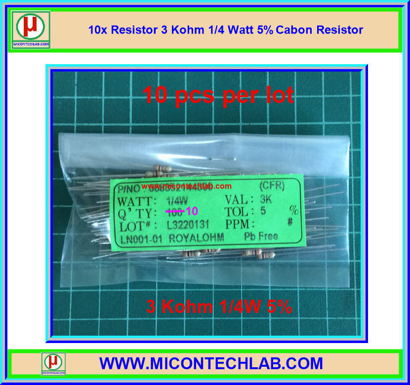 10x Resistor 3 Kohm 1/4 Watt 5% Cabon Resistor