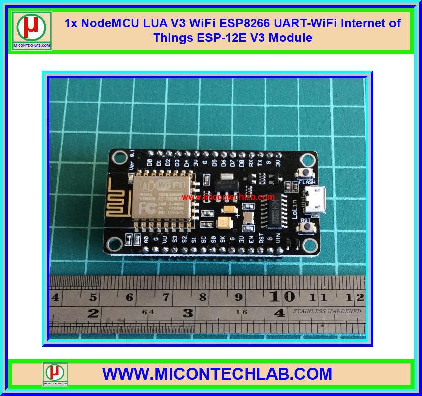 1x NodeMCU LUA V3 WiFi ESP8266 UART-WiFi Internet of Things ESP-12E V3 Module (CH340G)
