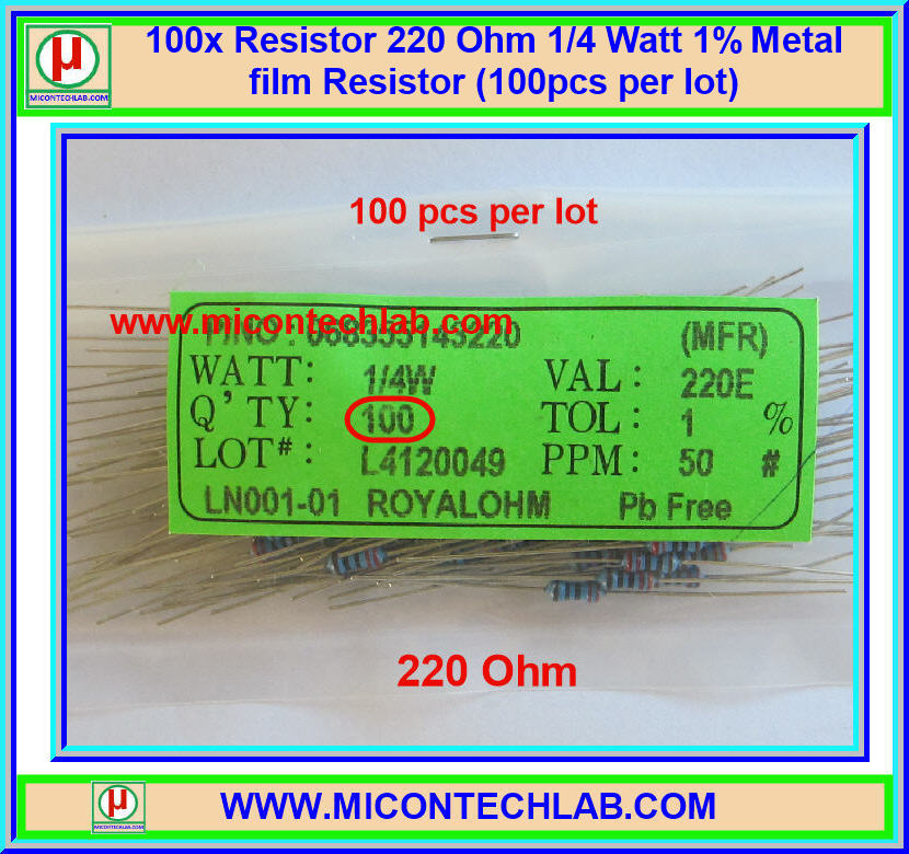 100x Resistor 220 Ohm 1/4 Watt 1% Metal film Resistor (100pcs per lot)