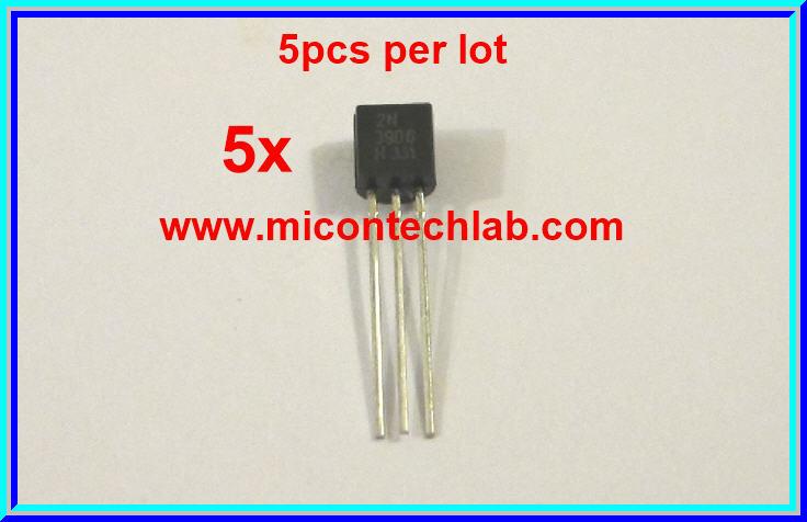 5x 2N3906 PNP Transistor Vceo=40V Ic=200mA (5 pcs per lot)
