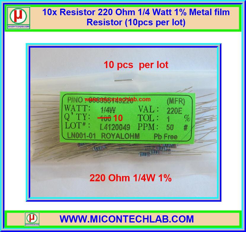 10x Resistor 220 Ohm 1/4 Watt 1% Metal film Resistor (10pcs per lot)