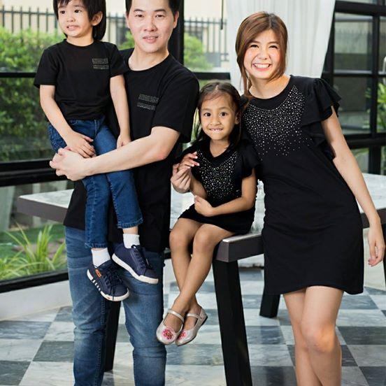 เสื้อครอบครัว ชุดครอบครัว พ่อ แม่ ลูก Black diamond set
