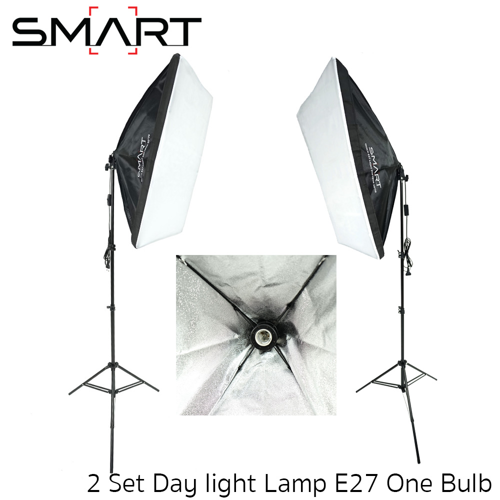 Light Set with 2 Set Day light Lamp E27 One Bulb Holder With Softbox 50x70cm