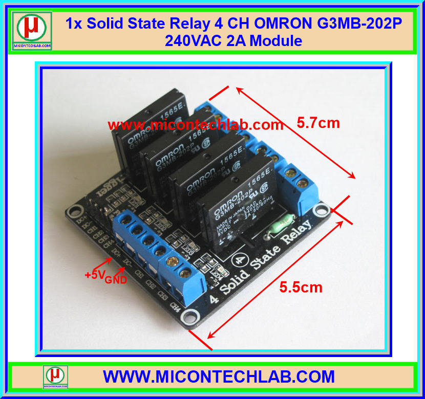 1x Solid State Relay 4 CH OMRON G3MB-202P 240VAC 2A Module