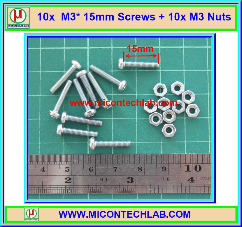 10x M3* 15mm Screws + 10x M3 Nuts (สกรูหัวกลม+น็อตตัวเมีย ขนาด 3มม ยาว 15มม)