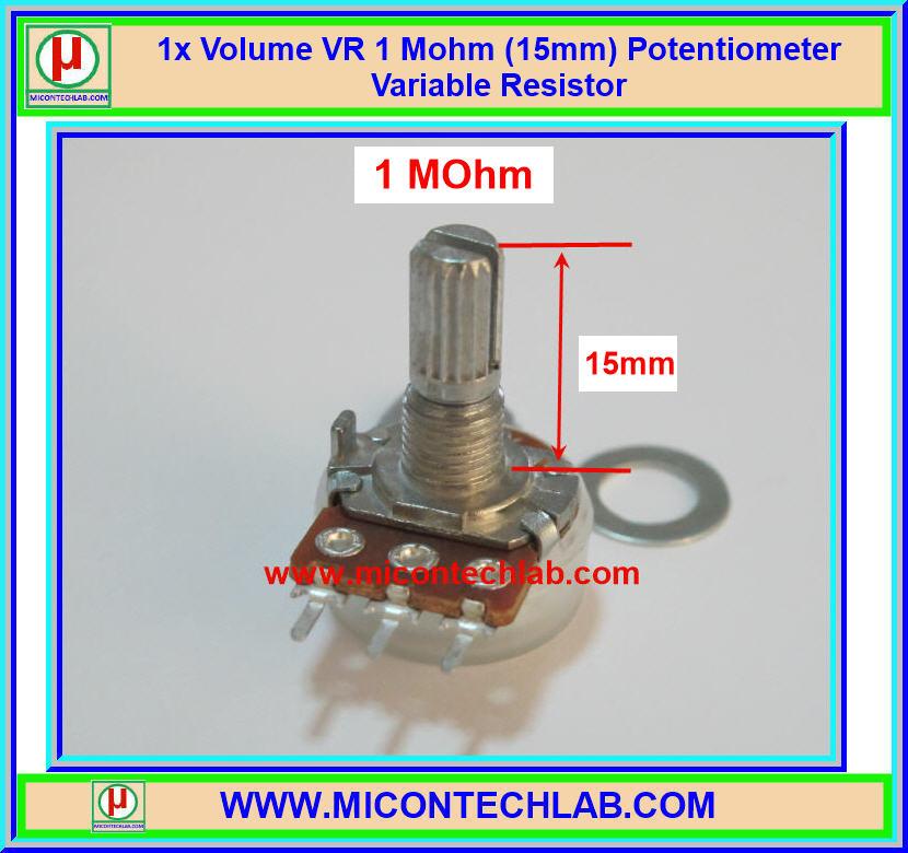 1x Volume VR 1 Mohm (15mm) Potentiometer Variable Resistor
