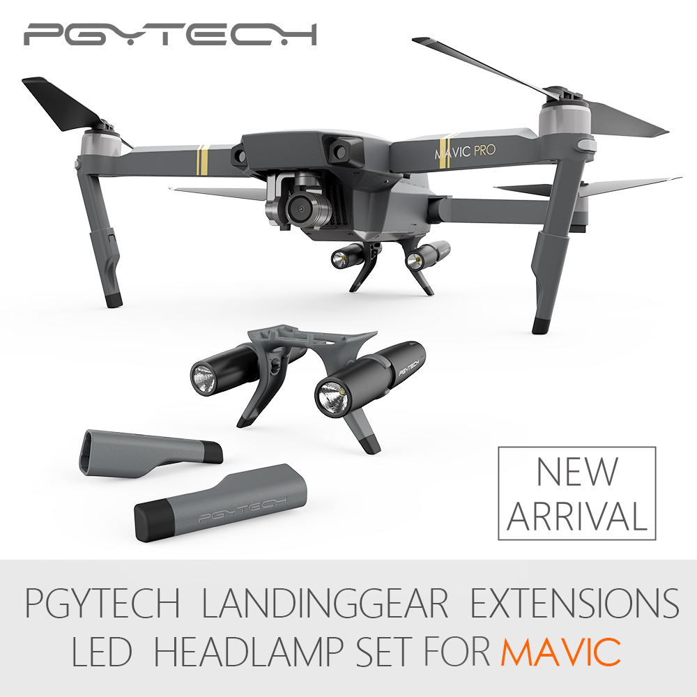 PGYTECH Extended Landing Gear For DJI Mavic Pro&Mavic Pro Platinum Leg Support Protector Extension LED Headlamp Set Fit