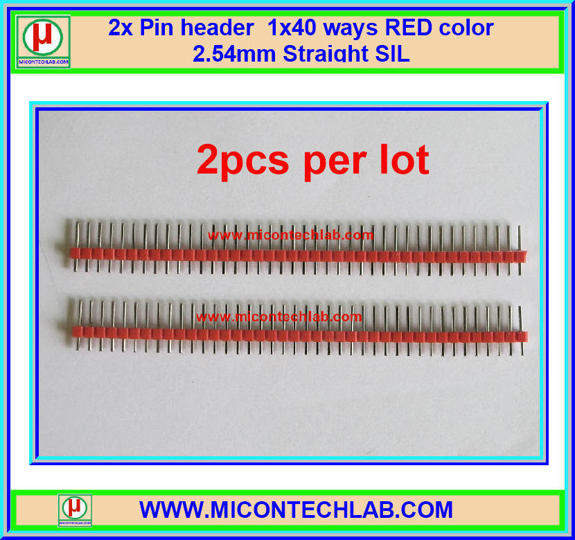 2x RED Color Pin header 1x40 ways 2.54mm Straight SIL