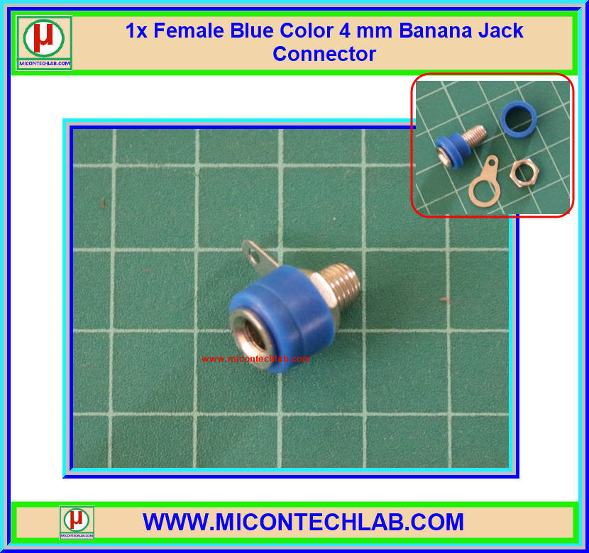 1x Female Blue Color 4 mm Banana Jack Connector
