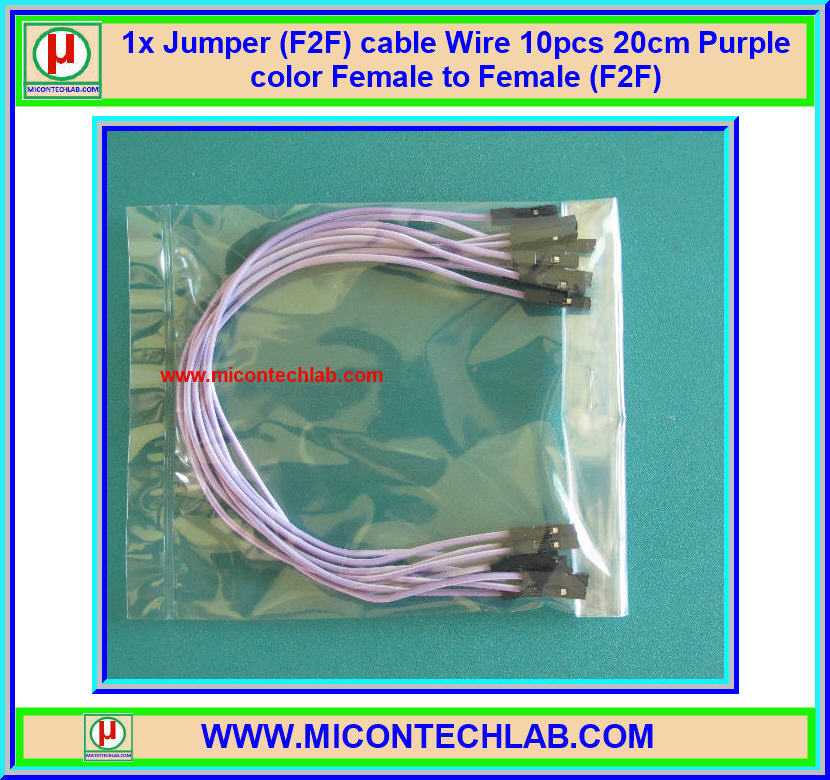 1x Jumper (F2F) cable Wire 10pcs 20cm Purple color Female to Female (F2F)