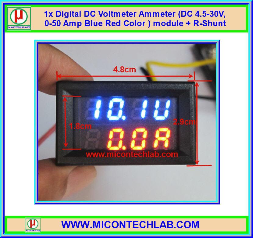 1x Digital DC Voltmeter Ammeter (DC 0-30V, 0-50Amp Blue Red ) module + R-Shunt