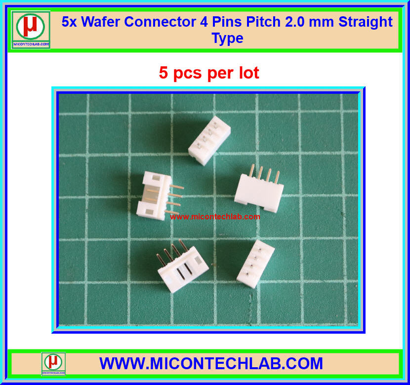 5x Wafer Connector 4 Pins Pitch 2.0 mm Straight Type