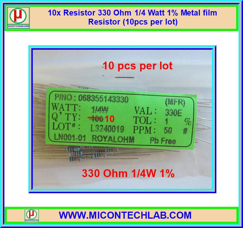 10x Resistor 330 Ohm 1/4 Watt 1% Metal film Resistor (10pcs per lot)