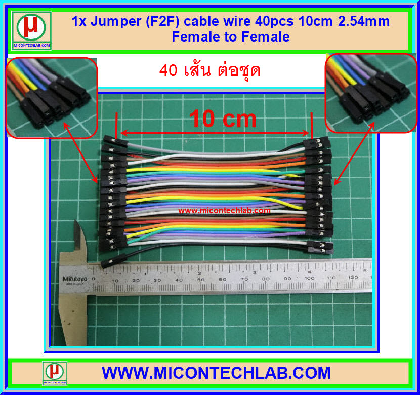 1x Jumper (F2F) cable wire 40pcs 10cm 2.54mm Female to Female