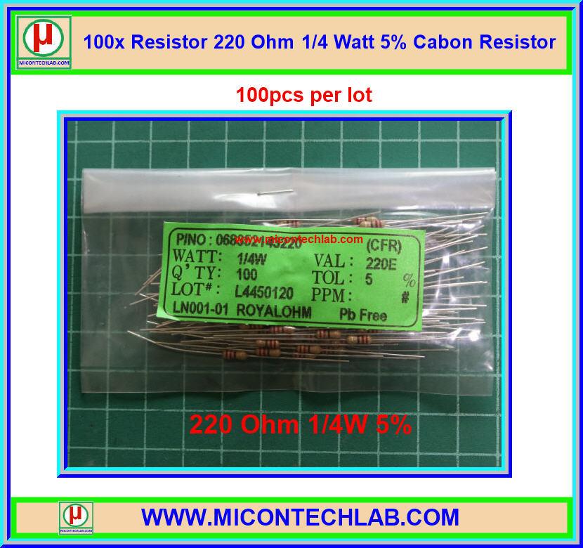 100x Resistor 220 Ohm 1/4 Watt 5% Cabon Resistor