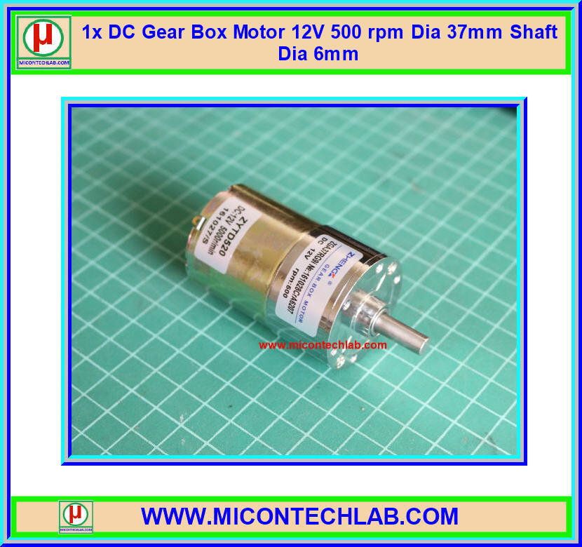 1x DC Gear Box Motor 12V 500 rpm Dia 37mm Shaft Dia 6mm