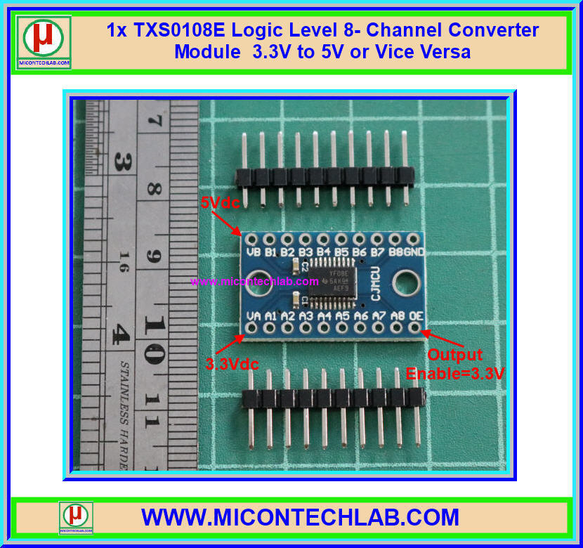 1x TXS0108E Logic Level 8- Channel Converter Module 3.3V to 5V or Vice Versa