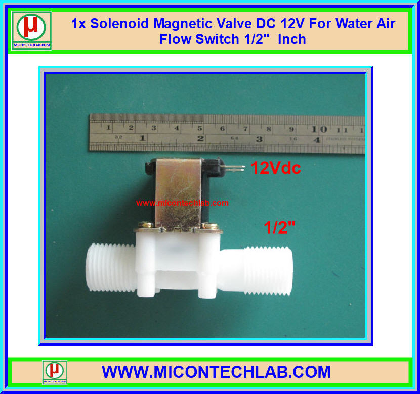 "1x Solenoid Magnetic Valve DC 12V For Water Air Flow Switch 1/2"" Inch"