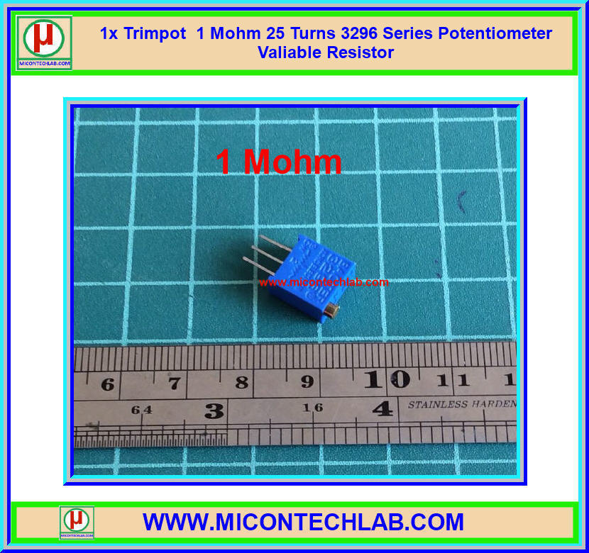 1x Trimpot 1 Mohm 25 Turns 3296 Series Potentiometer Valiable Resistor